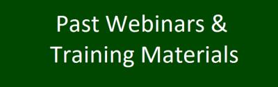 Past Webinars and training materials